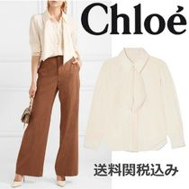 Chloe Silk Long Sleeves Plain Elegant Style Shirts & Blouses
