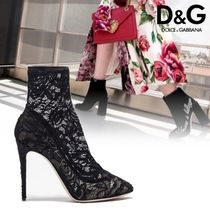 Dolce & Gabbana Flower Patterns Sheepskin Pin Heels Elegant Style