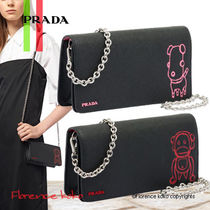 PRADA Saffiano 2WAY Bi-color Chain Plain Elegant Style