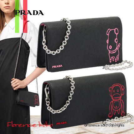 Saffiano 2WAY Bi-color Chain Plain Elegant Style