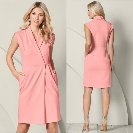 Casual Style A-line Sleeveless V-Neck Plain Medium Dresses