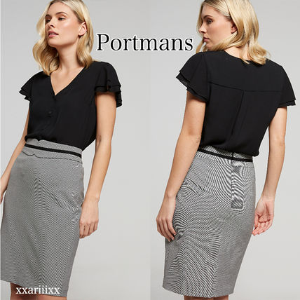 Pencil Skirts Zigzag Casual Style Blended Fabrics Medium