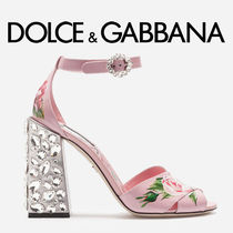 Dolce & Gabbana Flower Patterns Open Toe Party Style With Jewels
