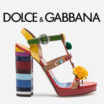 Dolce & Gabbana Open Toe Casual Style With Jewels Peep Toe Pumps & Mules