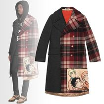 GUCCI Other Check Patterns Unisex Wool Long Coats