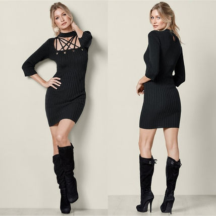 Short Tight Cropped Plain Elegant Style Dresses