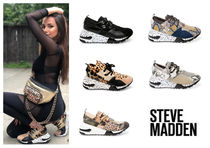 Steve Madden Leopard Patterns Platform Plain Toe Round Toe Rubber Sole