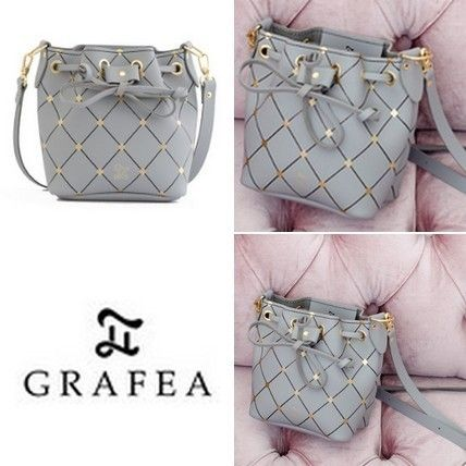 Other Check Patterns Casual Style Leather Shoulder Bags