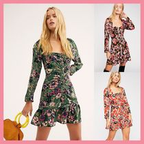 Free People Short Flower Patterns Casual Style Tight Cropped Dresses