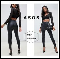 ASOS Casual Style Faux Fur Plain Leather & Faux Leather Pants