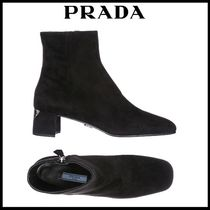 PRADA Round Toe Street Style Plain Leather Block Heels