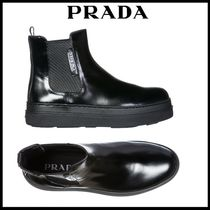 PRADA Platform Casual Style Street Style Plain Leather