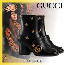 GUCCI Star Leather Elegant Style Ankle & Booties Boots