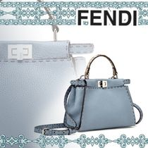 FENDI PEEKABOO 2WAY Plain Leather Handbags