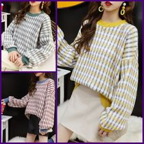 Cable Knit Other Check Patterns Casual Style U-Neck Medium