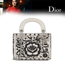 Christian Dior LADY DIOR Flower Patterns Calfskin Blended Fabrics 2WAY Chain