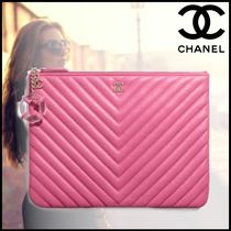 CHANEL Lambskin Blended Fabrics Bag in Bag Plain Elegant Style