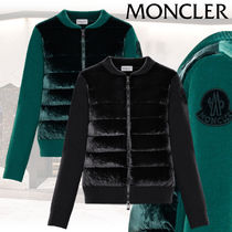 MONCLER Casual Style Cashmere Rib Blended Fabrics Long Sleeves Plain