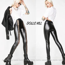 DOLLS KILL Casual Style Faux Fur Plain Leather & Faux Leather Pants