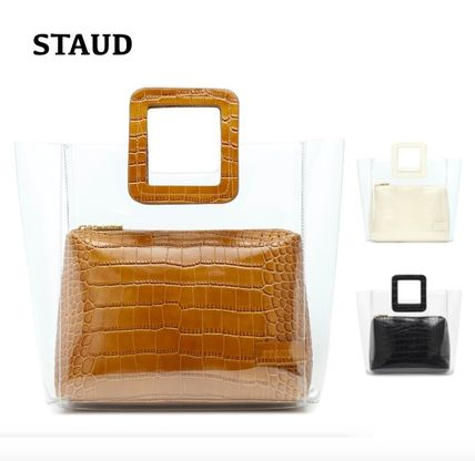 Blended Fabrics Crystal Clear Bags PVC Clothing Totes