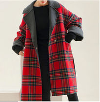 Other Check Patterns Wool Bi-color Long Oversized