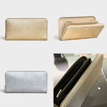 CELINE Zipped Plain Leather Long Wallets