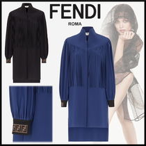 FENDI Short Silk Long Sleeves High-Neck Fringes Elegant Style