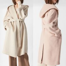 Wool Plain Medium Elegant Style Wrap Coats