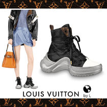Louis Vuitton Monogram Plain Toe Rubber Sole Lace-up Casual Style Leather