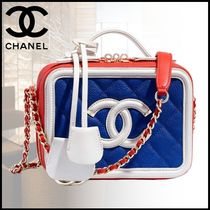 CHANEL Casual Style Calfskin Blended Fabrics Vanity Bags Chain Bags