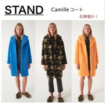 Camouflage Casual Style Faux Fur Plain Oversized Coats