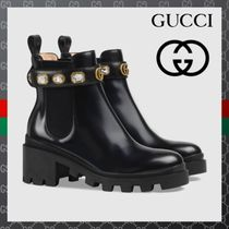 GUCCI Platform Plain Leather With Jewels Ankle & Booties Boots