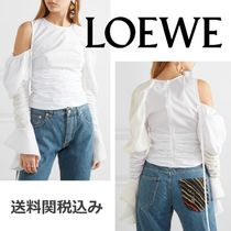 LOEWE Crew Neck Plain Cotton Elegant Style Shirts & Blouses