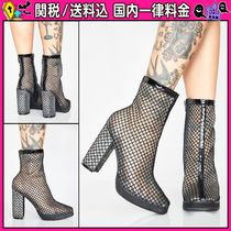 DOLLS KILL Plain Block Heels PVC Clothing Ankle & Booties Boots