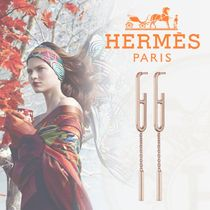 HERMES Chaine dAncre Casual Style Chain 18K Gold Earrings & Piercings