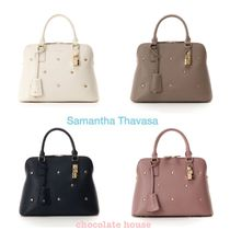 Samantha Thavasa Flower Patterns Studded 2WAY Plain Leather With Jewels