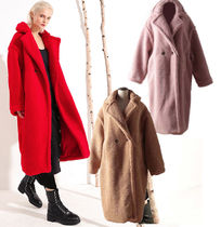 Faux Fur Plain Long Oversized Cashmere & Fur Coats