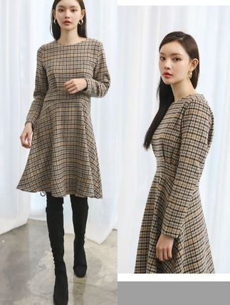 Crew Neck Other Check Patterns Wool Flared Long Sleeves Long