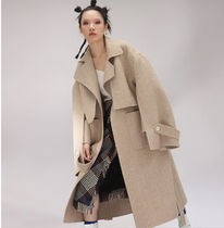 Stripes Wool Plain Long Office Style Oversized Chester Coats