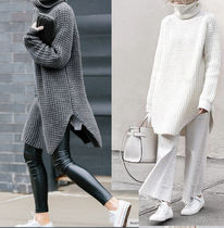 Cable Knit Gingham Casual Style Long Sleeves Plain Cotton