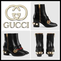 GUCCI Studded Leather With Jewels Ankle & Booties Boots
