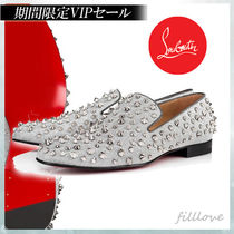 Christian Louboutin ROLLERBOY Plain Toe Loafers Studded Street Style Plain Leather