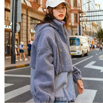 Casual Style Fur Blended Fabrics Street Style Bi-color