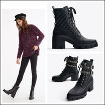 Uterque Track Sole Heeled Ankle Boots with Removable Chain Buckles