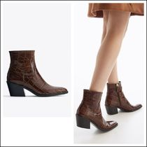 Uterque Mock Croc Leather Ankle Boots