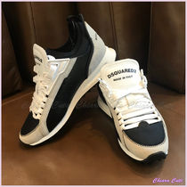 D SQUARED2 Round Toe Rubber Sole Casual Style Bi-color Low-Top Sneakers
