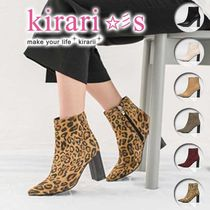 Leopard Patterns Casual Style Faux Fur Plain Chunky Heels