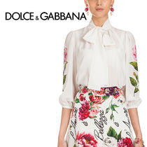 Dolce & Gabbana Flower Patterns Silk Cropped Elegant Style Shirts & Blouses
