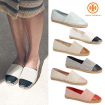Tory Burch Gingham Round Toe Rubber Sole Casual Style Blended Fabrics