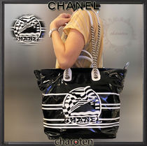 CHANEL ICON Stripes Unisex Blended Fabrics A4 2WAY Bi-color Chain